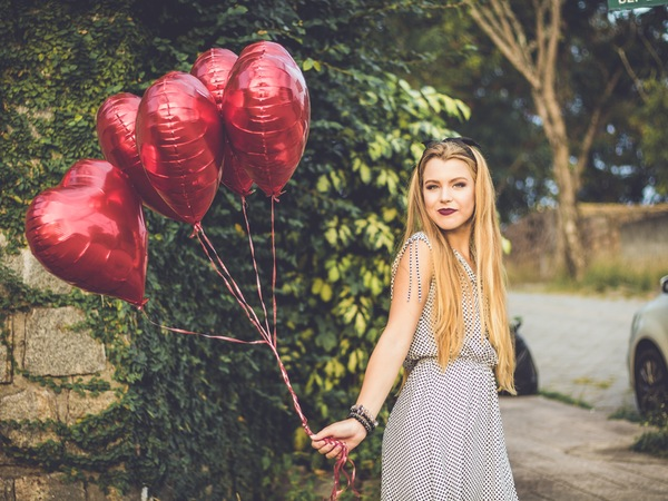 Woman happy on Valentine's Day